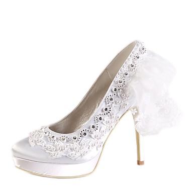 Aiguille Chaussures Talon Perle 06679156 Bout Femme Basique Blanc été mariage Strass de Satin Escarpin rond Printemps Chaussures RwqvdABxq