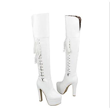 Mode la Noir Automne à Bottes Chaussures hiver Blanc 06697518 rond Bottes Polyuréthane Femme Rouge Talon Bottier Bout wS0YB