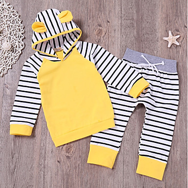 billige Sett med babyklær-Baby Unisex Aktiv Daglig Stribet Langærmet Lang Bomuld Tøjsæt Gul