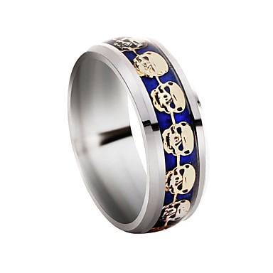 voordelige Heren Ring-Gegraveerd Bandring Schedel Klassiek Vakantie Rock Modieuze ringen Sieraden Zilver Voor Dagelijks Avond Feest 7 / 8 / 9 / 10 / 11