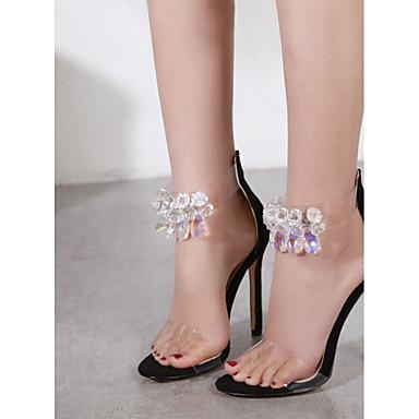 Women's PU(Polyurethane) Strap Fall Slingback / Ankle Strap PU(Polyurethane) Sandals Stiletto Heel Pointed Toe Rhinestone Black / Almond / Color Block 4d8240