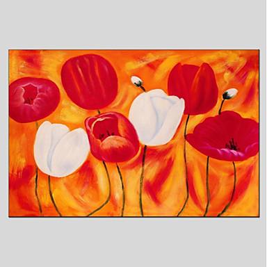 Hang-pictate pictură în ulei Pictat manual - Floral / Botanic Modern Includeți cadru interior
