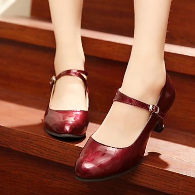 baratos Shall We® Sapatos de Dança-Mulheres Couro Ecológico Sapatos de Dança Moderna Salto Salto Personalizado Personalizável Prata / Vermelho Escuro / Vermelho / Interior / EU37