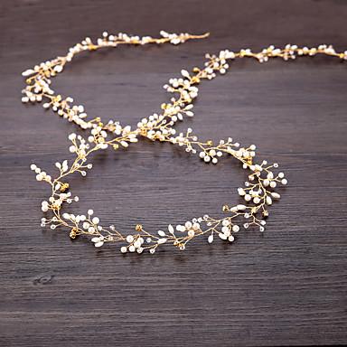 Imitație de Perle / Sârmă de cupru Banderolele / Accesoriu de Păr / Lantul Capului cu Perlă Artificială / Detalii Cristal 1 buc Nuntă Diadema