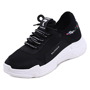 Women's Shoes Shoes Fabric Summer Comfort Athletic Shoes Shoes Flat Heel Round Toe White / Black e03dbb