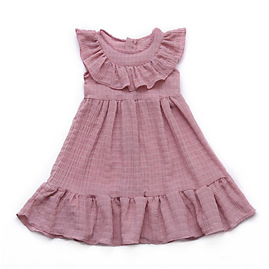 Dzieci Dla dziewczynek Podstawowy Solidne kolory Bez rękawów Sukienka / Bawełna