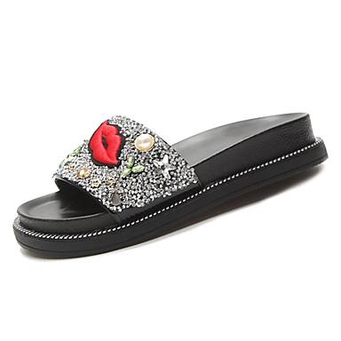 Women's Slippers Shoes PU(Polyurethane) Summer Comfort Slippers Women's & Flip-Flops Flat Heel White / Black 5167ec