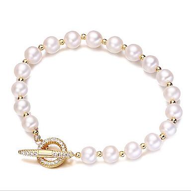 abordables Bracelet-Bracelet à Perles Femme Zircon Perle d'eau douce Plaqué or Perle d'eau douce simple Coréen Mode Bracelet Bijoux Dorée Forme de Cercle pour Cadeau Quotidien