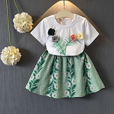 Dzieci / Brzdąc Dla dziewczynek Podstawowy Wyjściowe Kwiaty Nadruk Krótki rękaw Bawełna Komplet odzieży