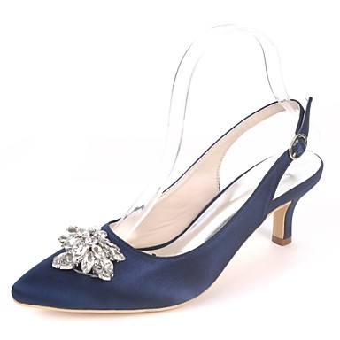 9e09e07da36a7 Women's Wedding Shoes Kitten Heel Pointed Toe Rhinestone Satin Basic Pump  Spring & Summer Royal Blue / Champagne / Ivory / Party & Evening / EU40