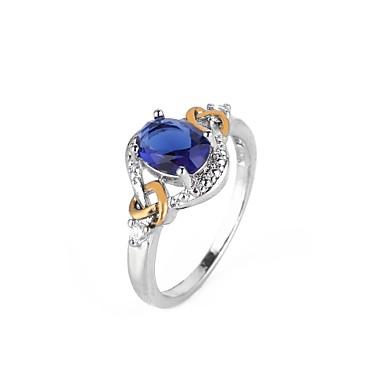 599 Syntetyczny Diament Geometric Shape Pierścionek Zaręczynowy Miedź Piłka święto Europejskie Ponadgabarytowych 6 7 8 9 Niebieski