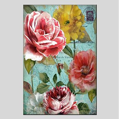 Hang-pictate pictură în ulei Pictat manual - Floral / Botanic Modern Includeți cadru interior / Stretched Canvas
