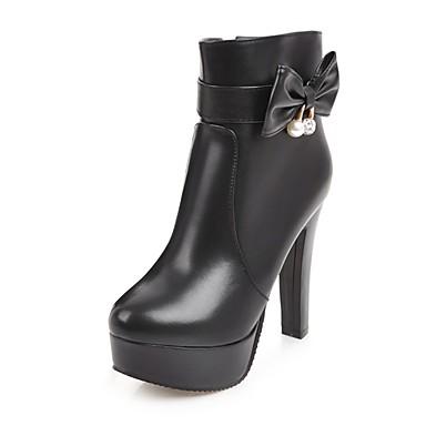 Žene Cipele Umjetna koža Zima Modne čizme Čizme Kockasta potpetica Okrugli Toe Čizme gležnjače / do gležnja Mašnica / Svjetlucave šljokice