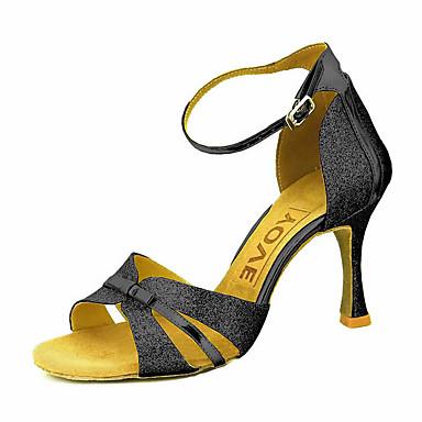 Mujer Zapatos de Baile Latino / Zapatos de Salsa Brillantina / Semicuero Sandalia / Tacones Alto Hebilla / Corbata de Lazo Tacón Personalizado Personalizables Zapatos de baile Plata / Azul / Oro