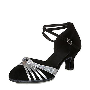 Kadın's Modern Dans Ayakkabıları / Balo Süet Topuklular Kişiye Özel Kişiselleştirilmiş Dans Ayakkabıları Siyah Şerit / Siyah ve Altın / Gümüş / Deri