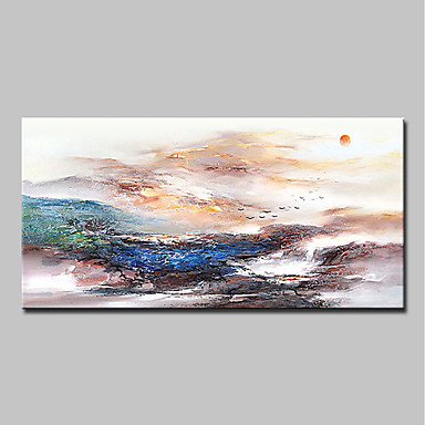 cheap Oversized Painting-Oil Painting Hand Painted - Abstract Landscape Classic Modern Canvas