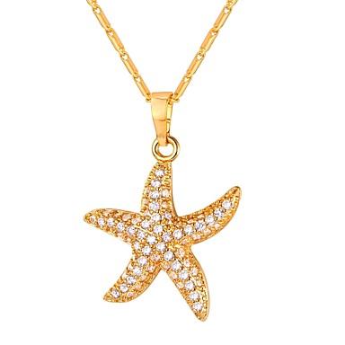 abordables Collier-Collier Pendentif Zircon petit diamant Étoile de mer dames Mode Dorée Argent 55 cm Colliers Tendance Bijoux pour Quotidien