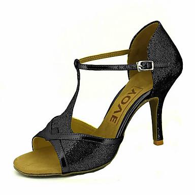 Mujer Zapatos de Baile Latino / Zapatos de Salsa Brillantina / Semicuero Sandalia / Tacones Alto Hebilla / Corbata de Lazo Tacón Personalizado Personalizables Zapatos de baile Plateado / Rojo / Azul