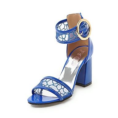 Pentru femei Pantofi Imitație Piele Vară D'Orsay & Două Bucăți Sandale Toc Îndesat Vârf deschis Alb / Negru / Albastru Închis / Nuntă