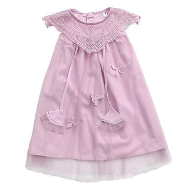 Dzieci Dla dziewczynek Aktywny Solidne kolory Bez rękawów Sukienka Jasnoniebieski 110