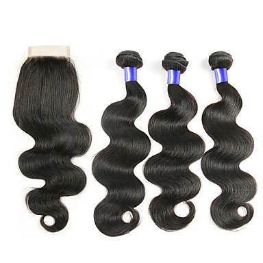 baratos Extensões de Cabelo Natural-3 pacotes com fechamento Cabelo Peruviano Ondulado 8A Cabelo Humano Trama do cabelo com Encerramento Côr Natural Tramas de cabelo humano Vestir fácil Melhor qualidade Nova chegada Extensões de cabelo