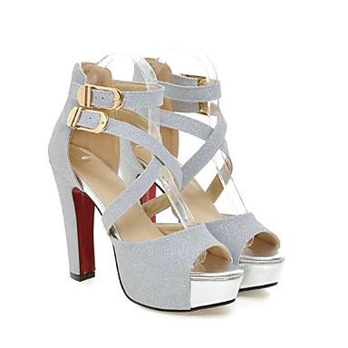 Or Printemps Argent Escarpin Talon Polyuréthane ouvert été 06685171 Chaussures Boucle Femme Bout Basique Sandales Noir Aiguille xp7qRw