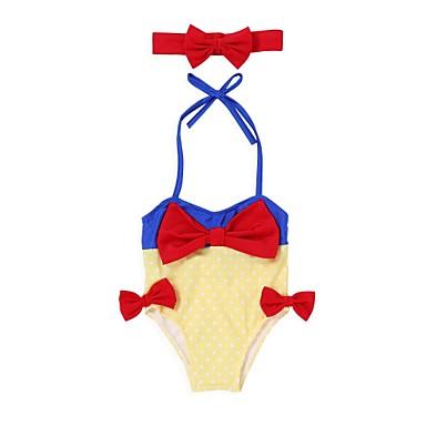 baratos Roupas de Banho para Meninas-Bébé Para Meninas Praia Sólido Roupa de Banho Amarelo