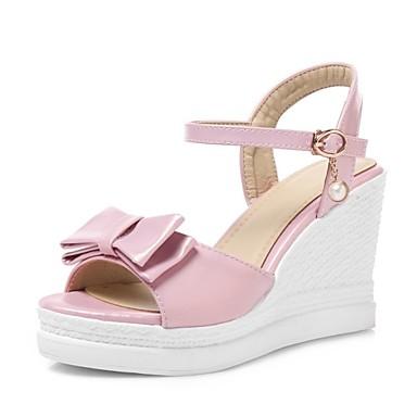 Rose Bleu Similicuir Femme Hauteur 06684087 Blanc Sandales Chaussures ouvert de compensée Bout Automne clair semelle Confort xrOWxF7n