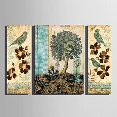 hesapli Tablolar-Boyama Haddelenmiş Kanvas Tablolar - Hayvanlar Çiçek / Botanik Modern Üç Panelli Sanatsal Baskılar