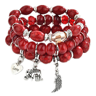 3pcs Tanzanite Charm Bracelet Bead Bracelet Pendant Bracelet Layered Ladies Fashion Multi Layer Alloy Bracelet Jewelry Rainbow / Red / Blue For Daily Going out