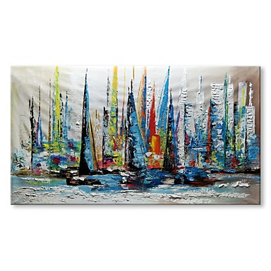 cheap Wall Art-Oil Painting Hand Painted - Abstract Landscape Comtemporary Modern Stretched Canvas