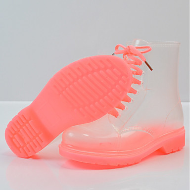 de Negro Tacón Bajo lluvia Cuero PVC Mujer Verano Verde Rosa 06681147 Botas Zapatos Botas Wv5ccX