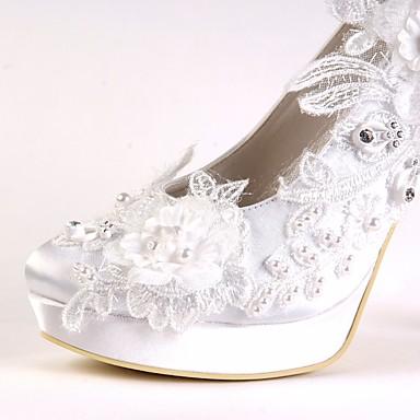 06680226 mariage été Aiguille Perle Talon Chaussures Basique Bout Blanc Strass Satin Chaussures Printemps Femme Escarpin rond de Tvwqa8an