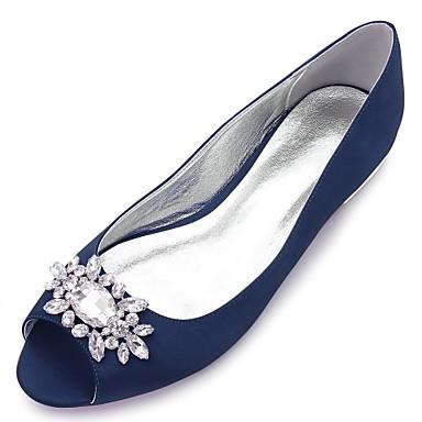 a9b8209947 Női Cipő Szatén Tavasz Kényelmes / Balerinacipő Esküvői cipők Lapos Köröm  Strasszkő / Glitter Kék / Világosbarna / Kristály
