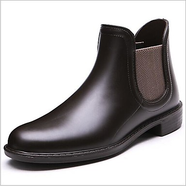 06685196 Botas Zapatos Mujer Marrón Negro Dedo PVC redondo de Cuero Primavera Bajo Botas lluvia Tacón verano 1ZZCqd