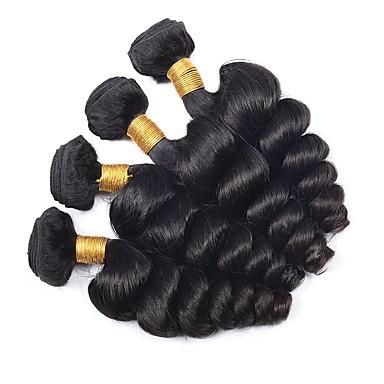 4 zestawy Włosy euroazjatyckie Falowana Włosy naturalne Doczepy z naturalnych włosów Kolor naturalny Ludzkie włosy wyplata Rozbudowa / Gorąca wyprzedaż Ludzkich włosów rozszerzeniach Wszystko