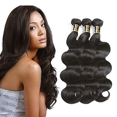 זול תוספות משיער אנושי-3 חבילות שיער פרואני גלי 8A שיער אדםלא מעוב 100% רמי שיער לארוג חבילות שחור צבע טבעי שוזרת שיער אנושי extention איכות מעולה לנשים שחורות תוספות שיער אדם כל