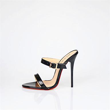 Pentru femei Pantofi PU Vară Pantof cu Berete Sandale Toc Stilat Vârf rotund Alb / Negru / Rosu / Nuntă / Party & Seară / Party & Seară