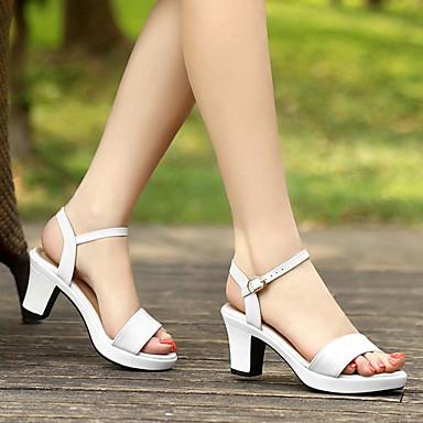 Dedo Cuero Cuadrado Hebilla redondo Tacón Verano Confort Mujer Sandalias 06688532 Blanco Patentado Zapatos Negro 5x01awq8