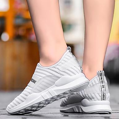 deporte Zapatillas Mujer Zapatos Primavera Tul verano Confort 06680910 Plano Tacón Negro de Blanco pHq0Sw