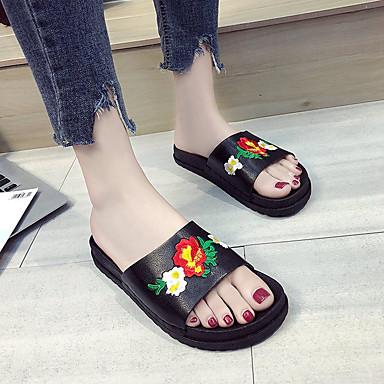 Tacón PU Blanco Negro Plano Verano Zapatillas Mujer Confort Amarillo Dedo Zapatos 06650245 flip redondo y flops 85wqR