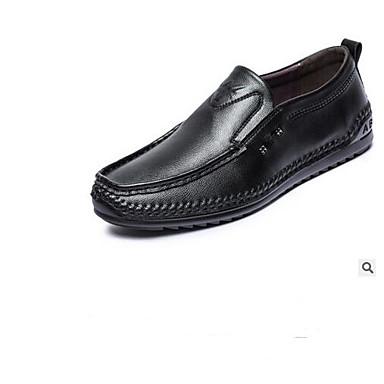 Męskie Komfortowe buty PU Wiosna Mokasyny i buty wsuwane Czarny / Brązowy / Na zewnątrz