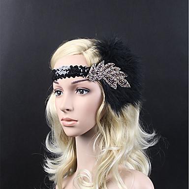 Gatsby Vintage Lata 20. Kostium Damskie Opaska w stylu lat 20-tych Czapki Czarny Postarzane Cosplay Kryształ / Kryształ górski Pióro