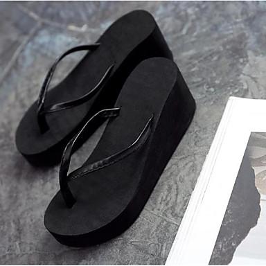 PU Negro Tacón Beige Confort flops blanco Zapatillas Puntera flip Mujer 06682518 Cuña Negro abierta Verano y Zapatos Ut7Oq5x8w5