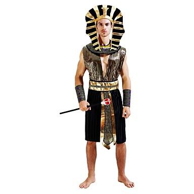 Egipskie Kostium Męskie Halloween Halloween Karnawał Nowy Rok Festiwal/Święto Stroje Złota Solidne kolory Prążki Halloween