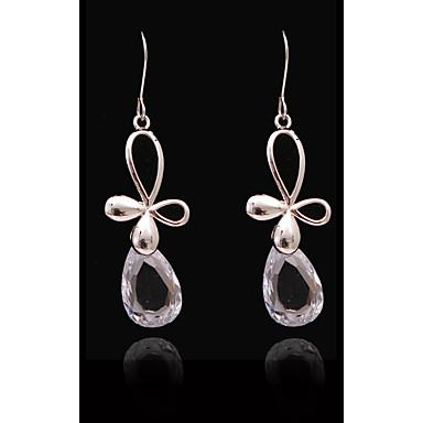 Pentru femei Cristal Zirconiu Cubic Lung - S925 Sterling Silver Picătură, Floare European, Modă Alb și Argintiu Pentru Stradă Concediu
