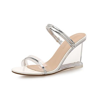 de été 06713655 Argent Evénement Femme amp; Sandales Confort Polyuréthane Gomme Hauteur Chaussures compensée Or semelle Printemps Soirée waq8Ia
