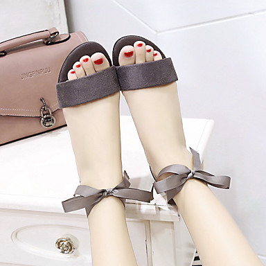 Pajarita Paseo bloque Puntiagudo PU de Talón 06694440 Sandalias Zapatos Negro Mujer Primavera Confort verano Sintético Dedo Gris qfRCB1S