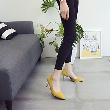 verano Primavera Zapatos Puntiagudo Tacón Mujer Tacones Almendra Confort Dedo Ante Amarillo Stiletto Rojo 06674326 ztxwW6