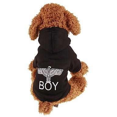 Psy / Koty / Zwierzęta domowe Bluzy / Bluzy z kapturem Ubrania dla psów Prosty / Litera i numer / Klasyczny Black Plusz / Bawełna Kostium